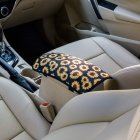 Vehicle Center Console Armrest Cover Pad Universal Fit Soft Stylish Sunflowers Pattern Comfort Center Console Armrest Cushion Single armrest