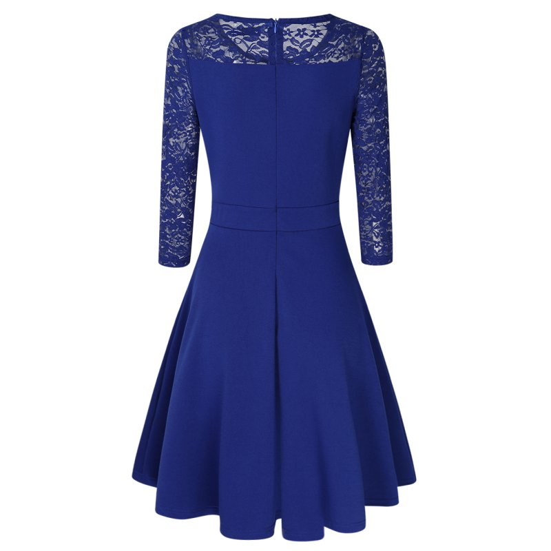 Women A Line Cocktail Dress Royal Blue XL