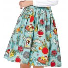 VeryAnn Women s Printed Vintage High Waisted Pleated A line Midi Skirt Water blue L