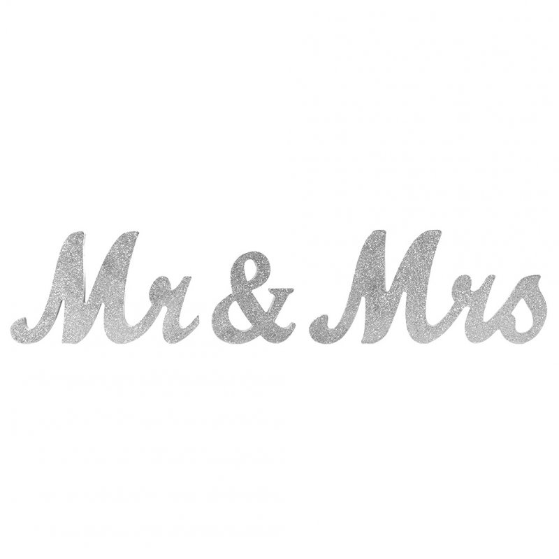 Vintage Style Silver Glitter Mr & Mrs Wooden Letters for Wedding Decoration DIY Decoration