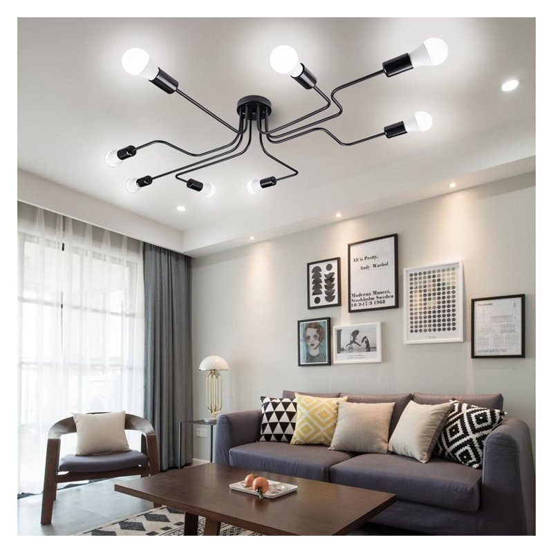 Vintage Wrought Iron Led Ceiling Lamp Living Room Bedroom Lamparas for Home Lighting 6 black
