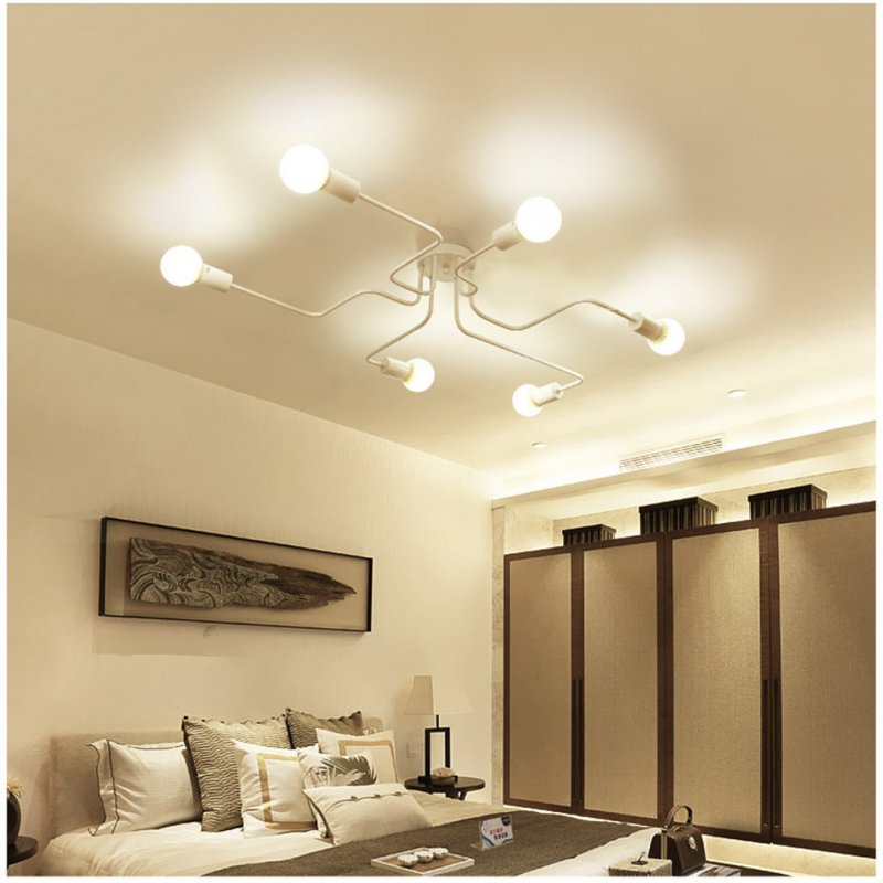 Vintage Wrought Iron Led Ceiling Lamp Living Room Bedroom Lamparas for Home Lighting 8 white