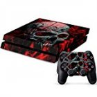 Vinyl Decal Protective Skin Cover Sticker for Sony PS4 Console And 2 Dualshock Controllers Vampire Skull Style