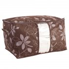 Visual Non-woven Leaf Printing Storage Bag for Blanket Clothes Quilt Laundry Organize Brown