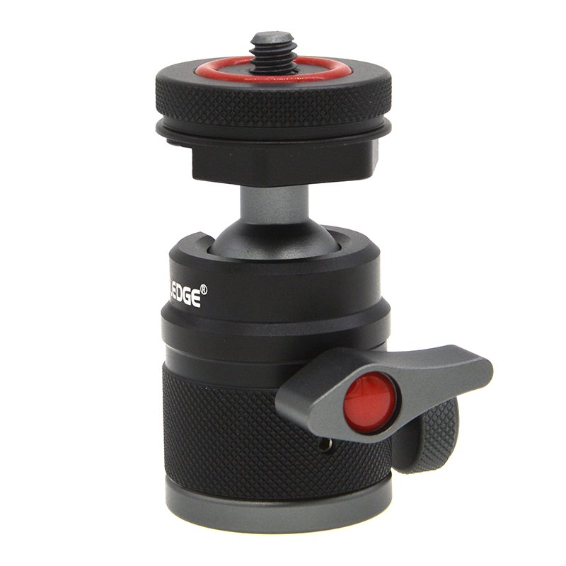 Vlogger Universal Tripod Head Ball with Cold Shoe Mount for LED Light Mic Quick Instal Ball Head DSLR Camera Head black