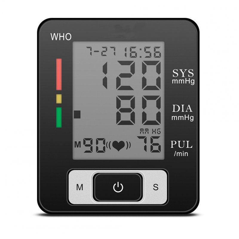 Voice Cuff Wrist Sphygmomanometer Blood Pressure Meter Automatic English Heart Rate Monitor Home Use black