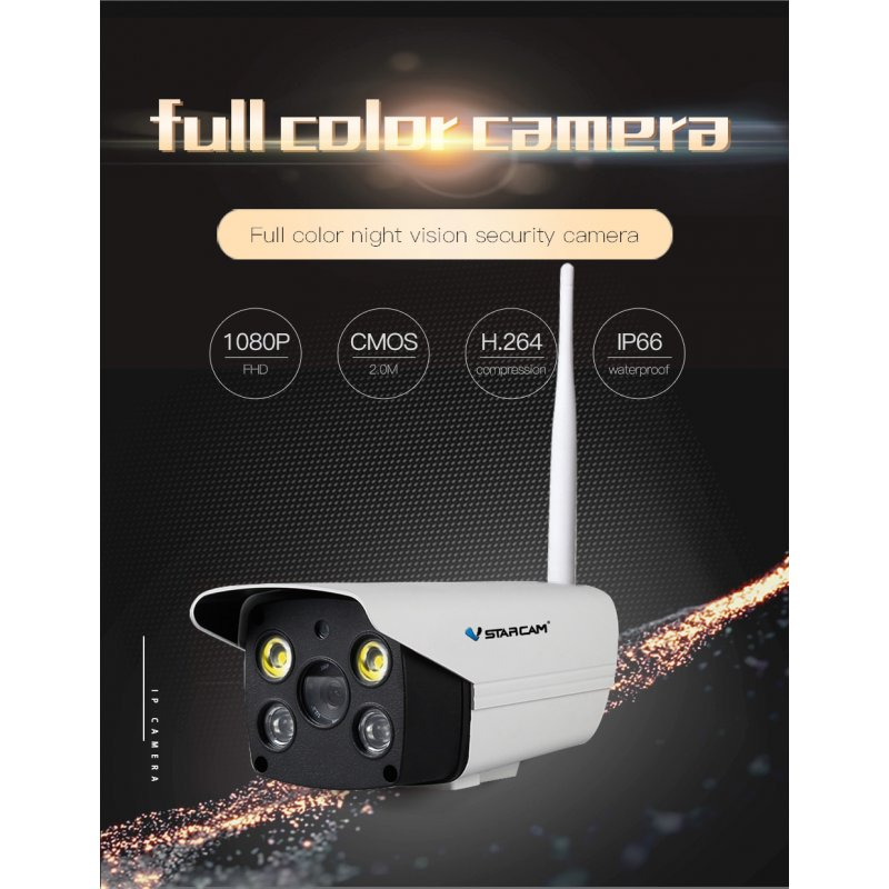 Vstarcam C18S 1080P Wifi Camera CCTV Waterproof Outdoor Full Color Night Vision Security Camera Infrared Bulllet Camera  EU plug