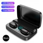 W2S Dual Earbuds TWS Bluetooth 5.0 Wireless Stereo Headset 1800mAh Sports Earphone black