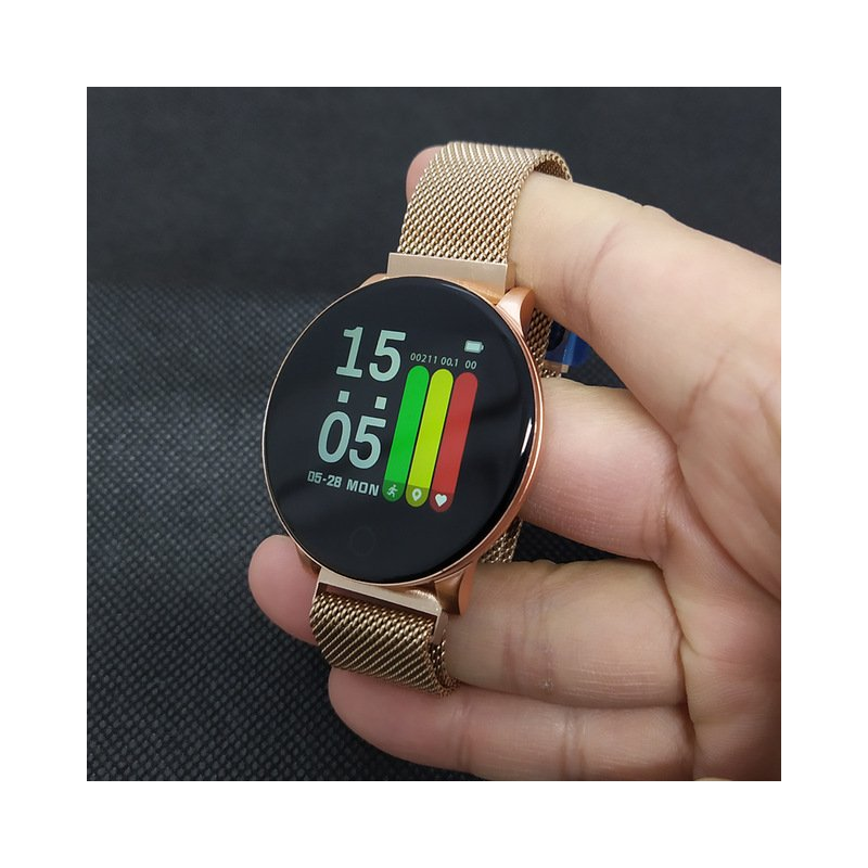 W8 Smart Watch Ladies Weather Forecast Fitness Sports Tracker Heart Rate Monitor Smartwatch Android Women Men's Watches Smart Bracelet Gold Steel