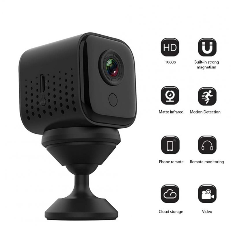 WIFI IP Camera 1920*1080P Built In Battery Wireless High Definition Cloud Storage Monitor black