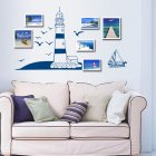 Wall Sticker with Blue Sailboat Seagull Pattern for Photo Frame Wall Background Decoration 50CMX22.5CM