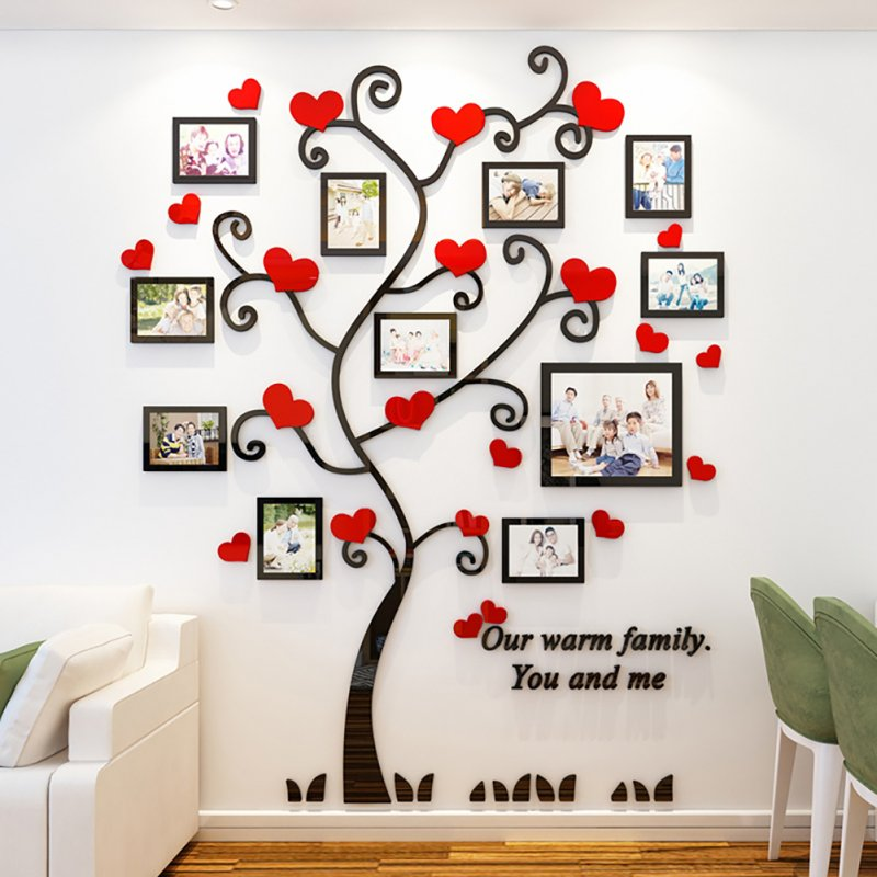 Wall Stickers Crystal Photo Frame Tree 3d Acrylic Living Room Bedroom Background Wall Decoration Black+red_Medium 129*160cm