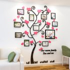 Wall Stickers Crystal Photo Frame Tree 3d Acrylic Living Room Bedroom Background Wall Decoration Black + pink_Medium 129*160cm