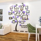 Wall Stickers Crystal Photo Frame Tree 3d Acrylic Living Room Bedroom Background Wall Decoration Black+purple_Medium 129*160cm