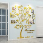 Wall Stickers Crystal Photo Frame Tree 3d Acrylic Living Room Bedroom Background Wall Decoration Golden_Medium 129*160cm