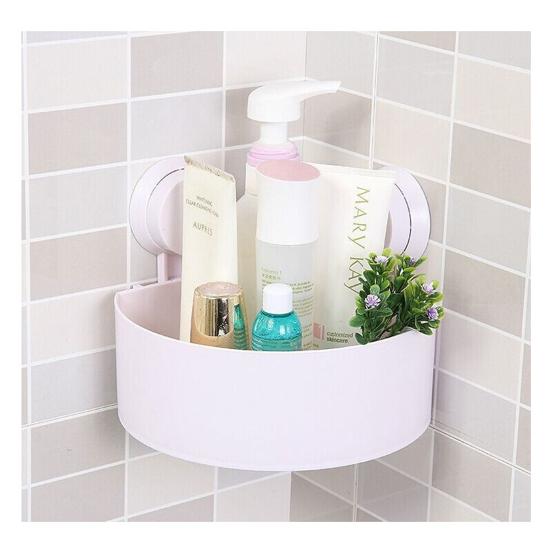 Wall Suction Cups Holder, Bathroom Shelf Shower Shampoo Soap Storage Rack, Home Kitchen Double-suction Organizer White_14.5/14.5/7.5