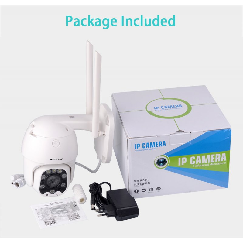 Wanscam K48C 1080P WiFi IP Camera Motion Detect Auto-Tracking PTZ 4X Zoom 2-way Audio P2P CCTV Security Outdoor Dome Cam UK Plug