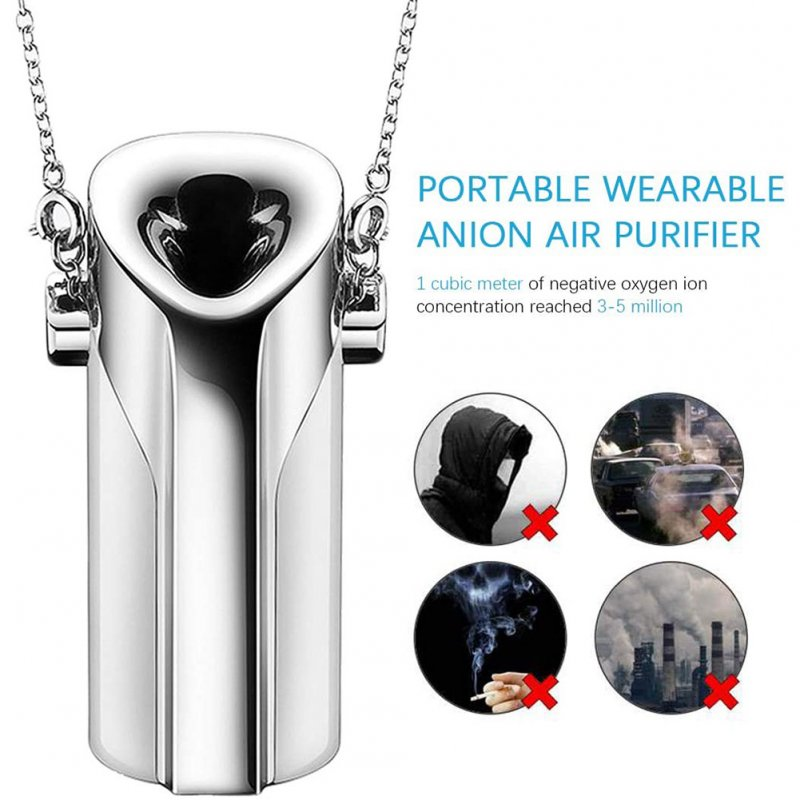 Wareable Mini Air Purifier, Portable USB Charging Air Cleaner Hang Neck Negative Ion Generator PM2.5 Silver