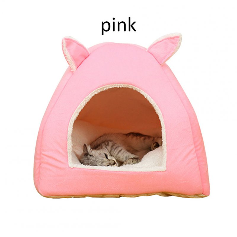 Warm Cave Lovely Rabbit Ears Shape Puppy Winter Bed House Kennel Fleece Soft Nest for Pet Cat Dog  Pink_M