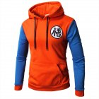 Warm Characters Printing Series Casual Baseball Hoodie Orange blue XL