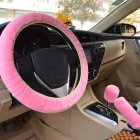 Warm Fur Automotive Steering Wheel Cover Universal Steering-wheel Plush Car Steering Wheel Covers Pink_Steering wheel cover + hand brake cover + gear cover