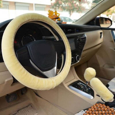 Warm Fur Automotive Steering Wheel Cover Universal Steering-wheel Plush Car Steering Wheel Covers Beige_Steering wheel cover + hand brake cover + gear cover