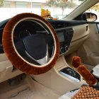 Warm Fur Automotive Steering Wheel Cover Universal Steering-wheel Plush Car Steering Wheel Covers Brown_Steering wheel cover + hand brake cover + gear cover