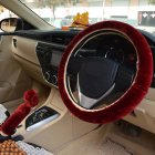 Warm Fur Automotive Steering Wheel Cover Universal Steering wheel Plush Car Steering Wheel Covers Wine red Steering wheel cover   hand brake cover   gear cover