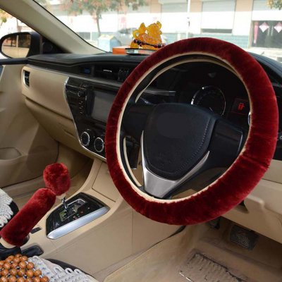 Warm Fur Automotive Steering Wheel Cover Universal Steering-wheel Plush Car Steering Wheel Covers Wine red_Steering wheel cover + hand brake cover + gear cover