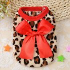 Warm Pet Leopard Printing Coat with Bow for Teddy Pomeranian Puppy Winter Fall Wear Red leopard XXS