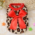 Warm Pet Leopard Printing Coat with Bow for Teddy Pomeranian Puppy Winter Fall Wear Red leopard XS