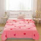 Warm Skin Friendly Autumn Winter Printing Blanket for Home Bed Sheet Supplies Strawberry pink