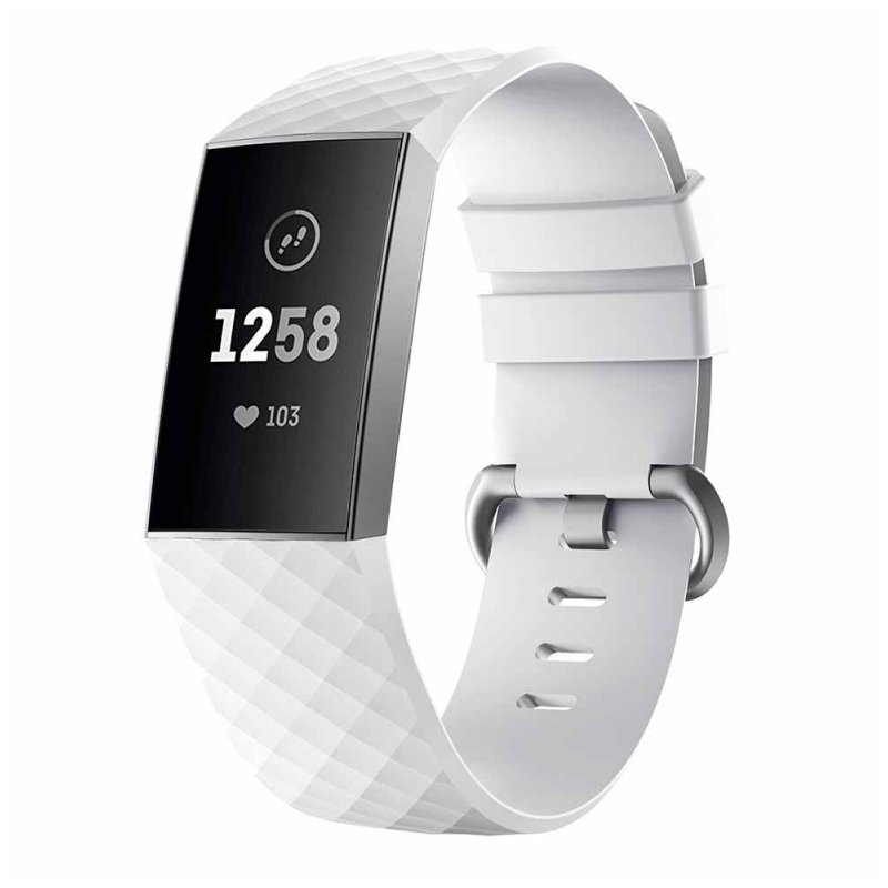 Watch Bands Compatible with Fitbit Charge 3/ Fitbit Charge 4 Waterproof Replacement Watch Strap Wristband white_S