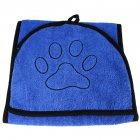 Water Absorbent Bath Towel with Pocket for Pet Dog Cat blue
