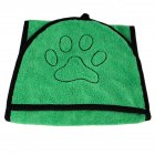 Water Absorbent Bath Towel with Pocket for Pet Dog Cat green