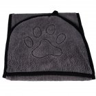 Water Absorbent Bath Towel with Pocket for Pet Dog Cat gray