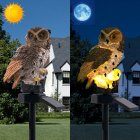 Waterproof Brown Owl Shape Solar-Powered Lawn Lamp for Outdoor Lighting