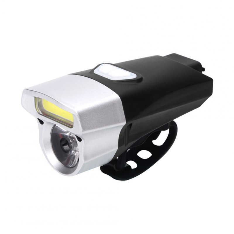 Waterproof COB USB Rechargeable LED Cycling MTB Bike Bicycle Head Light Tortch Lamp black silver head 112g