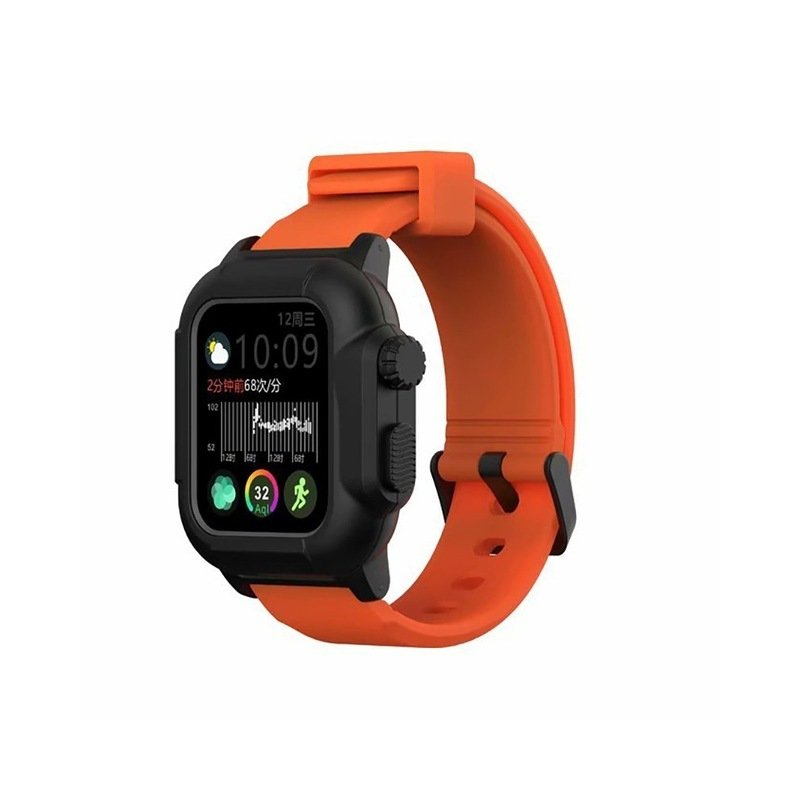 Waterproof Case for Apple Watch Band 4 iWatch Bands Silicone Strap 44mm 40mm Bracelet Smart Watch Accessories  Orange_44MM