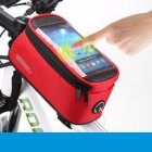 Waterproof Cycling Bike Bicycle Front Frame Tube Shock Absorption Padded Bag Case for Cell Phone Pomegranate red_4.2 inch
