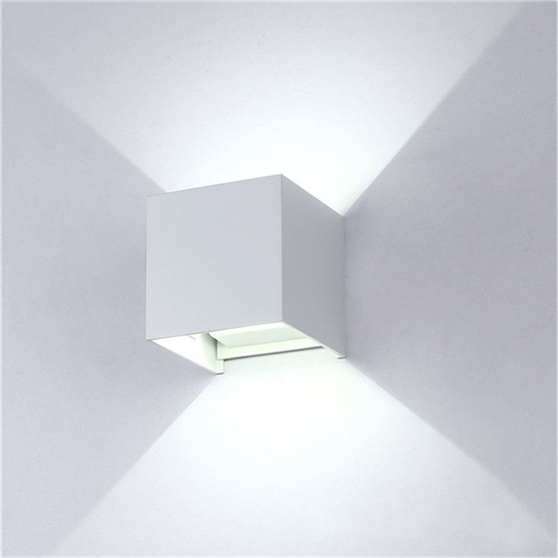 Waterproof Dimmable Aluminum Shell Wall Lamp for Outdoor Lighting White light_BD80 square cover white shell 12W