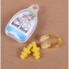 Waterproof Diving Swimming Ear Plugs   Silicone Nose Clip Kit with Storage Box for Kids Adult yellow