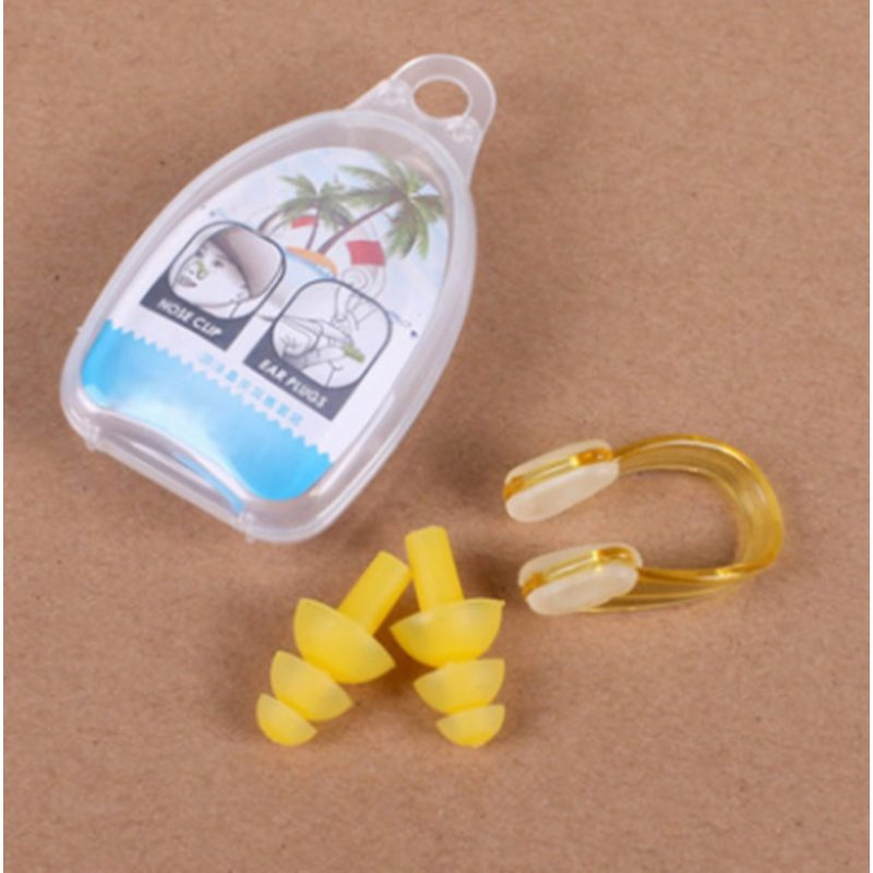 Waterproof Diving Swimming Ear Plugs & Silicone Nose Clip Kit with Storage Box for Kids Adult yellow