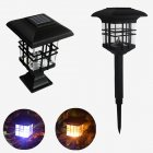 Waterproof Dual Use Solar House Shape Solar Column Lamp for Outdoor Lighting warm light