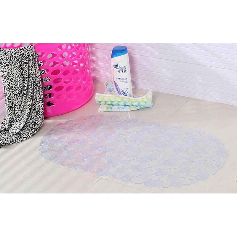 Waterproof Pebble Shape Surface Nonslip Mat with Suction Cup for Bathroom