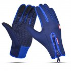 Waterproof Sports Gloves Touch Screen Glove Anti Slip Palm for Driving Cycling Skiing Dark Blue_XL