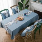 Waterproof Table  Cloth Decorative Fabric Embroidery Table Cover For Outdoor Indoor Blue flower embroidery_135*135cm
