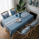 Waterproof Table  Cloth Decorative Fabric Embroidery Table Cover For Outdoor Indoor Blue stone embroidery_135*100cm