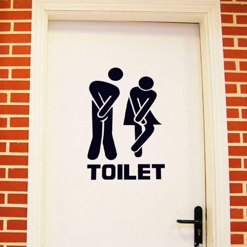 Waterproof Toilet Sign Wall Sticker Art Mural for Toilet Bathroom Door Decoration 20 * 30CM
