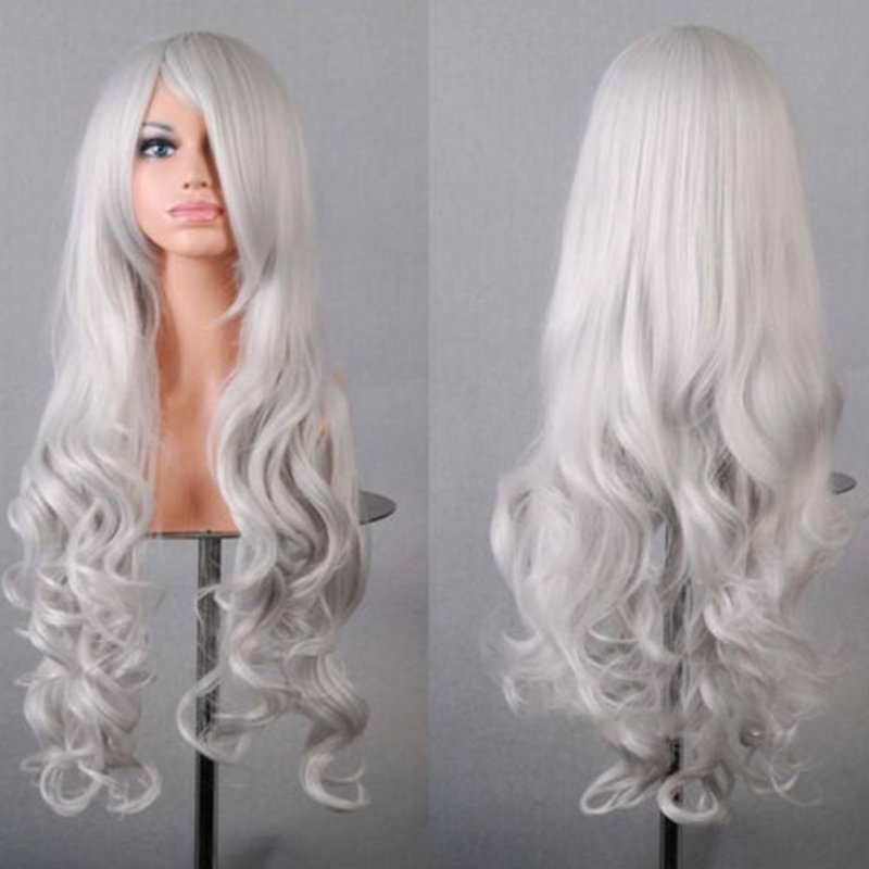 Wavy Hair Cosplay Long Wigs for Women Ladies Heat Resistant Synthetic Wig silver white